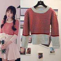Free shipping 2014 za* Temperament new cotton coat  Striped  Printed Women American apparel  Autumn-Winter