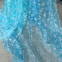 Romance queen snow snowflake stamp Elsa Elsa yarn gauze cape cartoon show clothing fabric