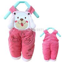 2014 New baby winter warm pants character dog children casual bib clothing 2072