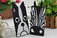 Free shipping 3D cute zebra and dog skin soft silicone phone case Cover For Huawei Ascend P6