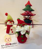 Free shipping Santa deer snowman Christmas tree ornaments cloth