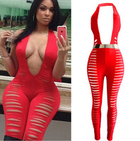 Fashion Sexy Women Summer Overalls Celebrity Night Club Wear Cut Up Jumpsuit Ladies Bandage Sleeveless Halter Catsuit Bodysuit