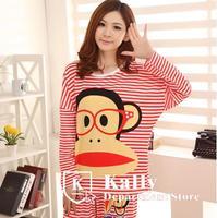 New hot Selling women long-sleeved cotton pajamas Casual cartoon stripe monkey pajamas
