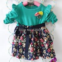 2014 new fahion baby clothing high quality Cotton baby girls dress cute children floral girl dress red  princess dress TQ007