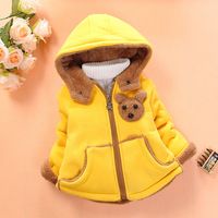 2014 new Korean version of the cartoon Winnie -dimensional thick lamb's wool hooded sweater coat jacket child