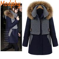 2014 women full sleeve woolen blends cotton padded jackets detachable fur hood patchwork winter warm coat drop ship ST113
