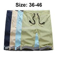2014 Fashion Men Casual Linen Shorts Beach Sorts Plus Size Draw String Waist 36-46