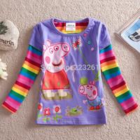 Peppa pig 2014 Autumn New Children's T-shirt Long Sleeve Kid's Clothing Cartoon Girls Casual T-shirt