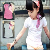 2014 2-colors Bowknot  princess t-shirts for children girls children's wear shorts t shirt for boy 10-003