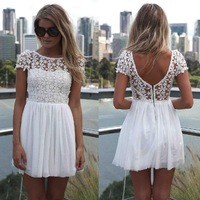 sexy dress women 2014 new fashion backless chiffon lace dress short sleeve dress stitching plus size dresses 3 color 13076