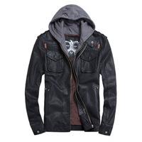 Black Brown Faux Leather Jacket Men/ PU Leather Hoody Moto Jacket Man/ Bomber Motorcycle Jacket Hoodie