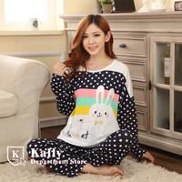 New arrival woman long-sleeved cotton pajamas suits cute cartoon bunny pajamas