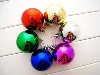 6pcs Christmas Decoration Supplies 8cm Powder Colored Drawing Christmas Ball Decoration Hanging Ball Free Shipping