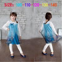 Autumn baby girl frozen suit blue lace elsa princess Iron silver dress + cotton white leggings girls clothing set 5set/lot