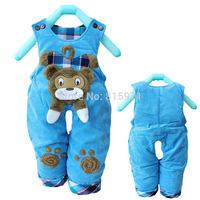 2014 New baby winter warm pants casual character bear children bib clothing 2061