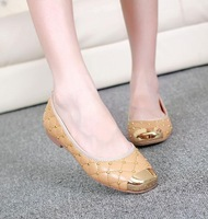 Apricot New Fashion Women Square Toe Checkered Rivets Sheepskin Flat Shoes Metal Decoration Comfortable Dress Flats