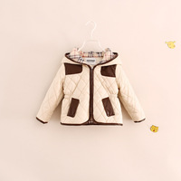Retail+New 2014 Baby girl Jackets,girls winter coat,hooded warm kids Jacket.Children outerwear,kids Plaid clothing,100% cotton