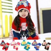 Free Shipping 2014 Autumn Winter New Cartoon Robot Hats/scarves children hat & scarf two piece/set Knitting Mixed batch colors