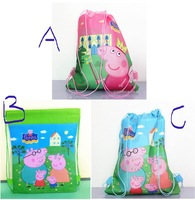 Peppa Pig 3 Styles Non-woven Fabrics Kid's Drawstring Backpack Pepa Pig School Bag Party Favor Gifts Children's Gifts For Kids