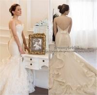 Free Shipping Hot Sale Lace Vestido de Novia Mermaid Wedding Dresses 2014 Ivory Wedding Dress Open Back Designer Wedding Dress