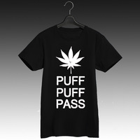 PUFF PUFF PASS classic reggae t shirt black and white