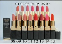 free shipping !new 5pcs high quality lipstick Brand Cosmetic Makeup Lustre Long Lasting Nude color Lipsticks 15 Colors