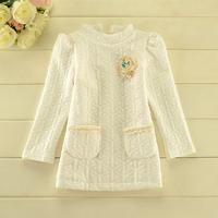 2014 New autumn,girls princess tops,children cotton outerwear,long sleeve,brooch,beads,3 colors,5 pcs/lot,wholesale,1806