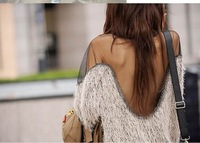 The new European style sexy backless strapless mesh stitching in hippocampal long sweater wool sweater