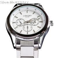 Fashion designer mens watches top brand luxury quartz round stainless steel waterproof watch free shipping