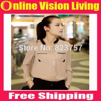 New 2015 Fashion autumn summer gold buckle small stand collar shirt chiffon shirt female long-sleeve shirt blouses woman A0232