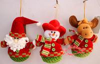 3PCS New Red and green color cloth Christmas gifts, Big Head Santa snowman, elk Free Shipping