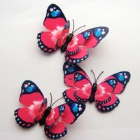 Hot Pink  Double wings  50pcs 3D Artificial Butterfly  for Home /Wedding Decorations 7cm !FREE SHIPING ! -Wholesale / Retail