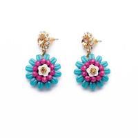 Min order $15 (Can Mix Item) Fashion luxurious created crystal diamonds gemstone flower stud earring