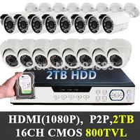 2TB Hard Drive 1/3'' cmos 800TVL 16ch CCTV System (8 indoor dome+8 outdoor) Security Cameras DVR Camera with UTP RJ45 balun