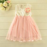2014 New autumn,girls princess vest dress,sequins,corsage,pink/yellow,2-8 yrs,5 pcs/lot,wholesale,1807