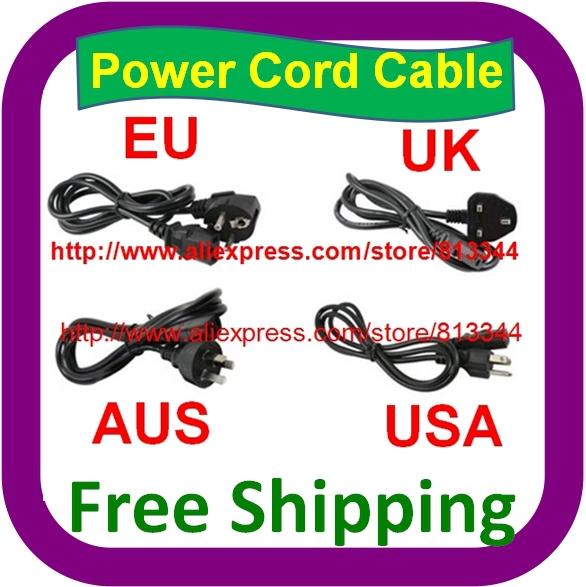 500 pcs Free Shipping AC Power Cord cable lead Adapter EU US UK AU Plug 10A 250V Laptop AC Adapter Cord(China (Mainland))