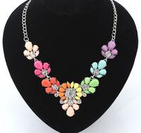 Occident Fashion Metal Flowers Luxurious Gem Necklace 3 Color Wholesale