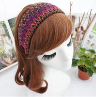 Boho Multi Color Geometric Fabric Wide Hairbands Headbands Women