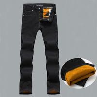 Men's winter warm plus velvet straight jeans Male classic thick denim pants Plus large size trousers Free shipping