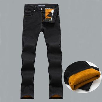 Мужская зима теплая плюс бархат прямые джинсы классический толстые джинсовые брюки ...