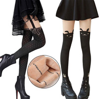 autumn winter Plus thick velvet  thin stitching fake  Gaotong knee  thigh warm pantyhose women