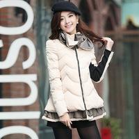 2014 New Arrival Women Winter Coat Korean A-Line Cape Winter Coat Flower neck Ruffle Hem Ladies Thicken Warm Coat Overcoat
