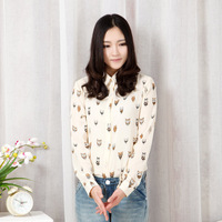 2014 Fashion Ladies' Owl pattern beige blouses elegant long sleeve stylish Shirt casual slim brand designer tops