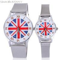 Brand women men watches fashion watch brand UK falg design round white roman number alloy analog free shipping wholesale