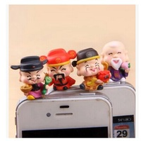 wholesale 10pcs/lot kawaii China lucky god of wealth anti dust plug for cell phone/fashion God of fortune ear jack earphone cap