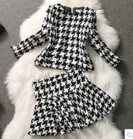 free shipping 2014 Autumn& Winter new style Occident women skirt suit casual&leisure zipper coat set