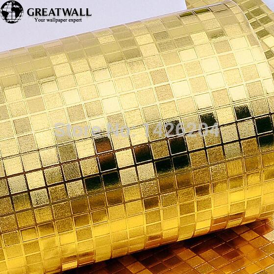Great wall Luxury glitter mosaic gold foil wallpaper silver metallic wallpaper, living room golden lattice gram wall paper(China (Mainland))
