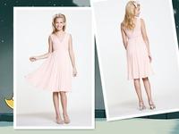 Beautiful Knee length A-line V-neckline With Illusion Straps Ruffle Bodice Pleated Peach Chiffon Flower Girl Dress