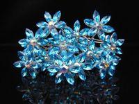 50pcs  NEW Frozen Snowflake Hair Jewelry Blue Crystal Rhinestone Wedding Prom Hair Pins
