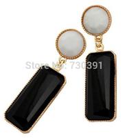Free shippingNew Arrival Fashion Elegant Geometry Pierced Drop Black Resin